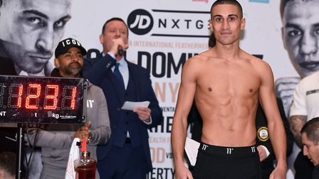 Jordan Gill (pictured) at the weigh in ahead of his headline fight which takes place in Peterborough