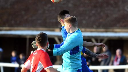Ely City goalkeeper Harry Reynolds saved a penalty in their victory against Hadleigh. Picture: IAN C