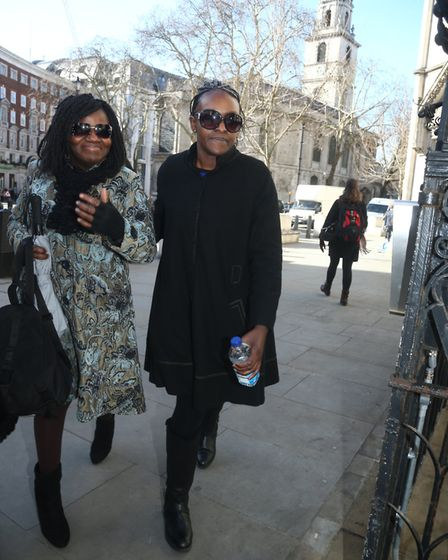 Disgraced MP Fiona Onasanya (right) arrives outside The Royal Courts of Justice for her conviction c