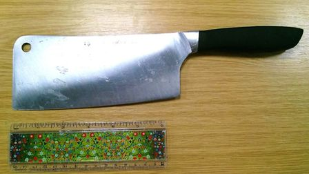 Jamie Woodroof, who was caught walking around Peterborough with a six-and-a-half-inch meat cleaver h