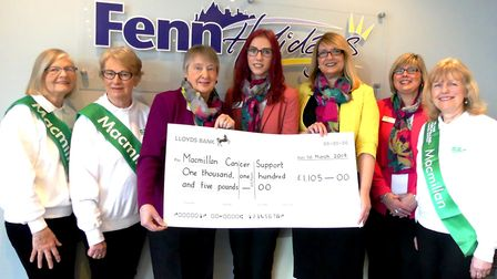 Fenn Holidays, who have an office in March, raised £1,105 for Macmillan. The ladies from Fenn Holida