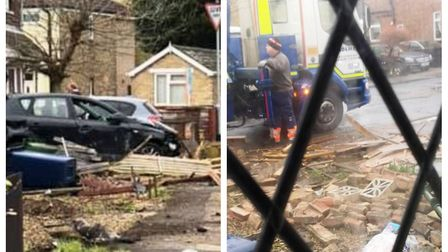 The driver who ploughed through a garden wall and fence in Norwood Road, March has been arrested, po