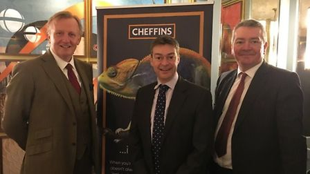 Cheffins chairman Bill King and managing partners Philip Woolner and Simon Gooderham at the launch o