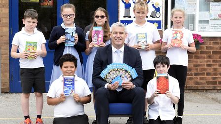 Steve Barclay, MP for NE Cambs, with children at Mepal and Witchford Primary School to inspire them
