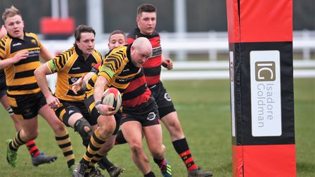 Charlie Coupland heads towards the try line. Picture: STEVE WELLS