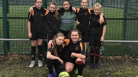 The under 12s 5-a-side national finalists. Back row: Ellie Curson, Molly Kirby, Sarah Southgate, Pop