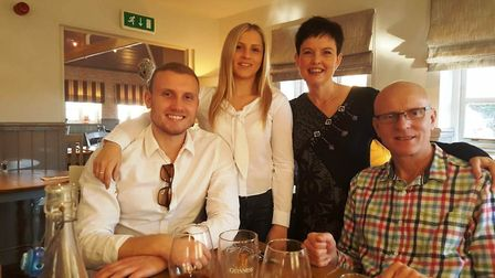 Trevor Darnes pictured with his daughter Ashleigh, wife Clare and son Jack. He is running the London