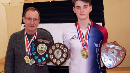Ely Archers - 18 Medals at County Shoot: Malcolm Basing, Gents Barebow County Champ (left) and Harry