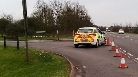 A car has wiped an electricity pole on Burrowmoor Road, March. Picture: CAMBS COPS
