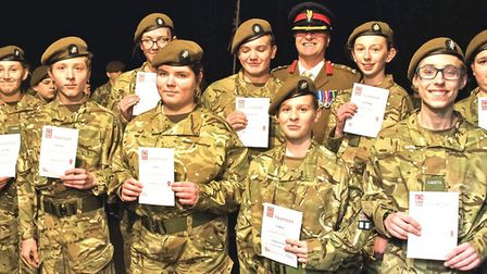 Brigadier Tim Seal TD DL VR visited Chatteris Army Cadet HQ on to present a number of awards. Heart