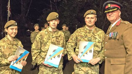 Brigadier Tim Seal TD DL VR visited Chatteris Army Cadet HQ on to present a number of awards. Pictur