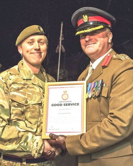 Brigadier Tim Seal TD DL VR visited Chatteris Army Cadet HQ on to present a number of awards. Sgt Jo