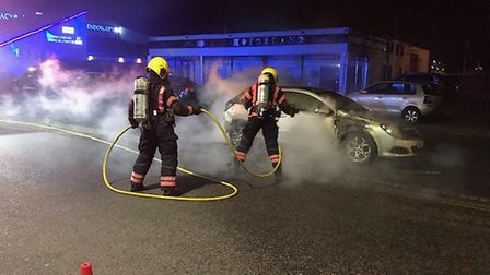 Dramatic images show the extent of the deliberate car fire which took place on Monday (March 11) on
