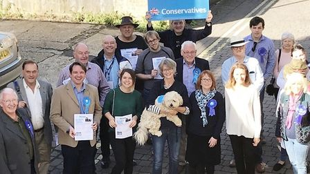MP Lucy Frazer (front row, right) out and about with Conservative election candidates ahead of the 2