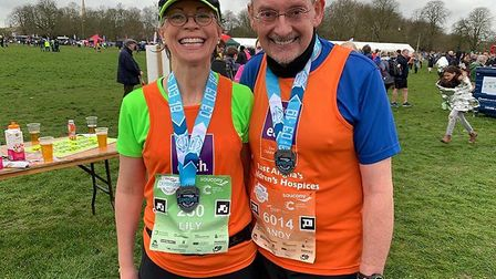 The High Sheriff for Cambridgeshire Dr Andy Harter (pictured right) with his wife Lily Bacon (left)