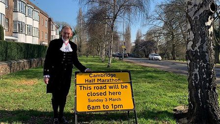 The High Sheriff for Cambridgeshire Dr Andy Harter (pictured) at the Cambridge Half Marathon for his