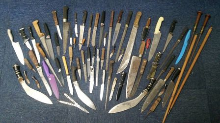 Amnesty to tackle knife crime launched in Cambridgeshire. This picture shows the knifes that were ha