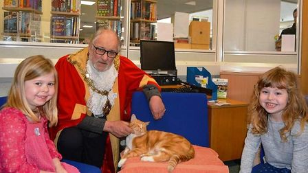Garfield during his book signing session at Ely library with city mayor, Councillor Mike Rouse.. Pic