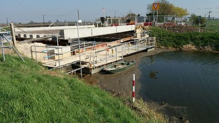 Boots Bridge Manea where a £1m re-construction programme is under way. The works have led to the clo