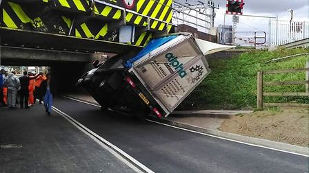 Lorry driver gets stuck at the Stutney Road rail bridge in Ely. Picture; NETWORK RAIL