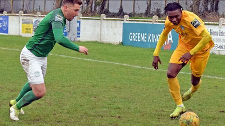 Lewis Endacott scored Soham Town Rangers' leveller in their 1-1 draw at Great Wakering. Picture: TER