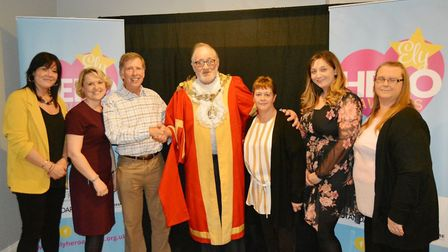 Ely Hero Awards 2019: Mayor Mike Rouse is pictured with Fen House and former winner Lisa Thompson. P