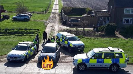 Three men were dispersed from Cambridgeshire after police were called to reports of hare coursing in