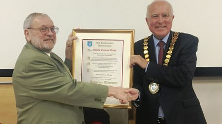 East Cambridgeshire District Council last May conferred the title of honorary alderman on former Cou
