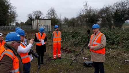 Soham station: Mayor James Palmer visited the site off Station Road to see Network Rail noise monito
