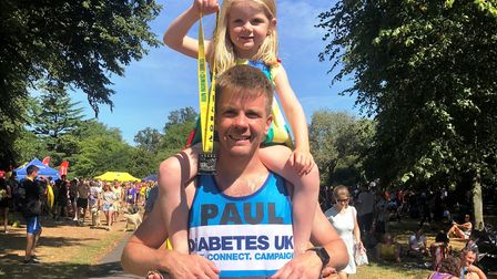 Paul Sycamore, a type 1 diabetic from Little Thetford (pictured with his daughter), is all set to ta