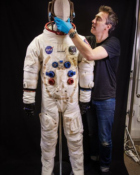 Dallas with his replica of the Neil Armstrong Space Suit by Natalie Shaw. Picture: NATALIE SHAW.