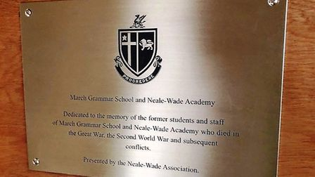 New plaque to commemorate former Neale-Wade pupils on Ypres trip. Picture: CHRISTINE THORPE.