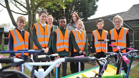 The as Junior Travel Ambassadors sporting their Cambridgeshire County Council high-vis jackets - Mor