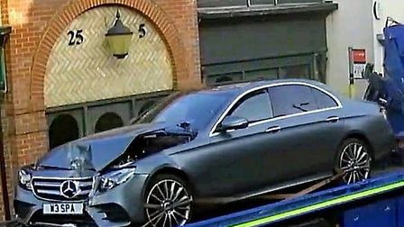 Luxury Mercedes worth £40,000 smashes into Chatteris funeral home. Picture: PETER SCOTT