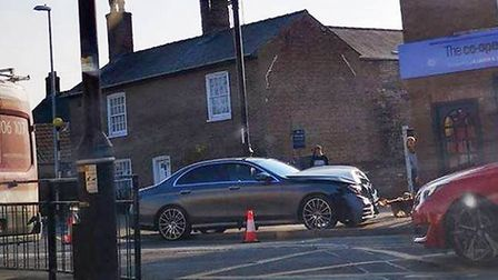Luxury Mercedes worth £40,000 smashes into Chatteris funeral home. Picture: VICKY G.
