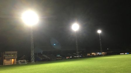 March Town Foootball Club get new flood lights thanks to donations from Mick George. Picture: MICK G