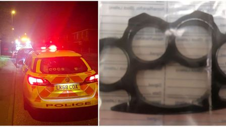 Two arrested in Whittlesey as knuckleduster and Class A drugs found in car. Picture: CAMBS POLICE.
