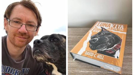 Cambridgeshire author David Hill pictured with his rescue dog Luna who inspired his latest book, Lun