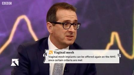 The BBC Victoria Derbyshire Show covers the mesh implant scandal. MP Owen Smith. Picture: BBC VICTOR