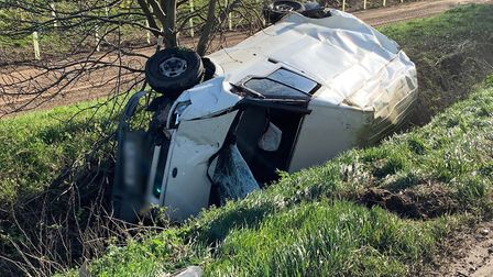 Drivers taken to hospital after three-vehicle crash on A47. Picture: CAMBS POLICE.