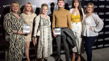 Staff and stylists from Snipetts in Ely who have reached the final of a major L'Oréal hairdressing c