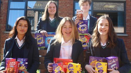 Girls in Withburga House at King's Ely Senior decided to collect Easter eggs to donate to Ely Foodba