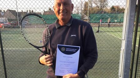 """Simon Grainger of Chatteris Tennis Club (pictured) has won a """"highly prestigious"""" at the Lawn Tennis"""