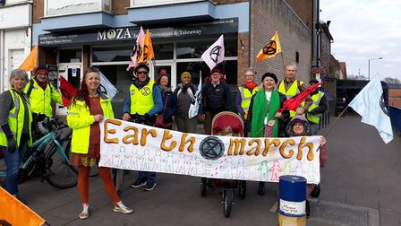 Activists from Extinction Rebellion Bury St Edmunds began their march on London today Picture: EXTIN