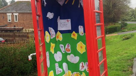 Prickwillow phone box opens its doors to a delightful Easter mini exhibition provided by the Ladybir