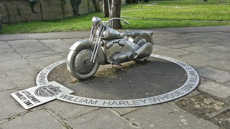 The Harley Davidson monument in Littleport where a couple made threats brandishing a hammer and a wh