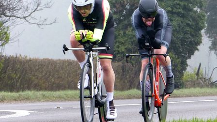 Rob Golding and Rory Havis on their way to victory in the Diss CC 2-up time trial (pic Fergus Muir)