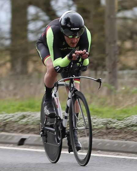 Derek Ricketts on his way to a course PC in the Kyngs Lynn CC 25 mile race (pic Dean Gooding)