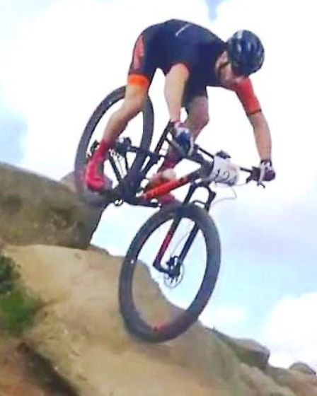 Mathew Eley riding one of the technical features of the Olympic MTB course. Credit Francesca Eley.