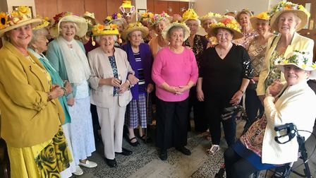 Wimblington ladies keep fit group arrive in style for annual Easter bonnet lunch. Picture: CLARE BUT